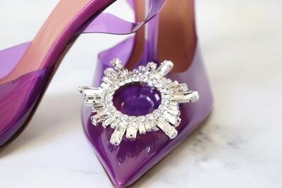 Amina Muaddi Begumglass Slingback, Purple, New in Box