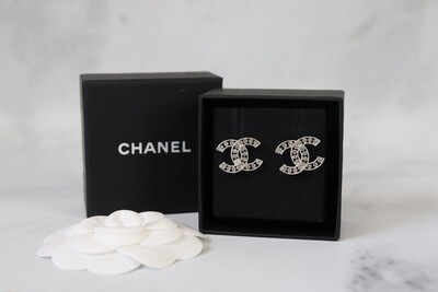 Chanel Outline CC Studs with Crystals, Silver Hardware, New in Box