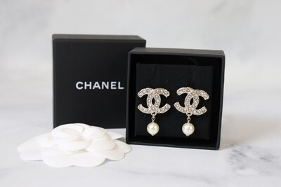 Chanel CC Crystal Drop Earrings with Pearl, Lightgold Hardware, New in Box