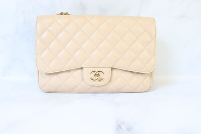 Chanel Classic Jumbo Double Flap, Beige Caviar Leather, Gold Hardware, Pre owned in Box