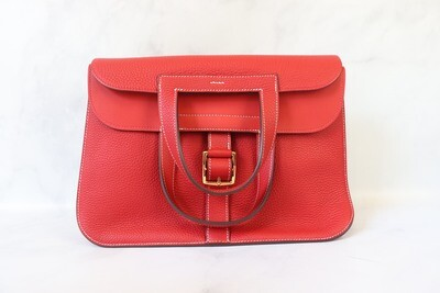 Hermes Halzan 31,  Red, Preowned in Dustbag