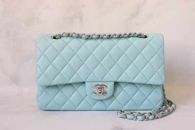 Chanel Classic Medium Double Flap 19C, Light Tiffany Blue Lambskin Leather with Silver Hardware, Preowned in Box