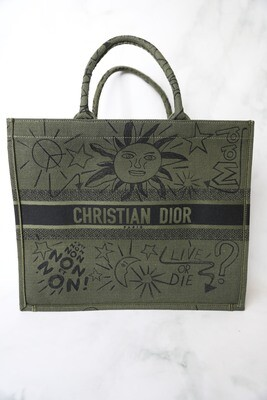 Dior Book Tote Large, Green with Scribbles, Preowned no Dustbag WA001
