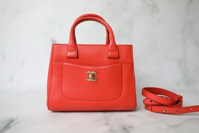 Chanel Neo Executive Tote , Coral Calfskin with Gold Hardware, Preowned in Dustbag WA001