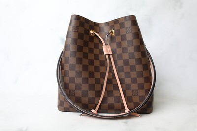 Louis Vuitton NeoNoe MM, Damier Ebene with Pink, Preowned in Box WA001
