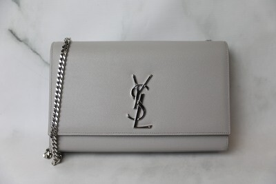 Saint Laurent Kate Medium, Grey Grained Leather with Silver Hardware, Preowned no Dustbag WA001