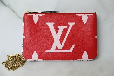 Louis Vuitton Double Zip Pouch Giant Collection, Red and Pink, Preowned in Box WA001