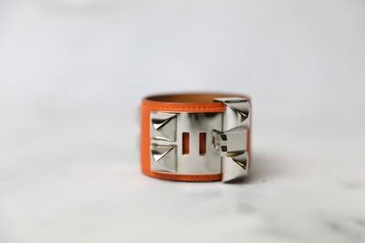 Hermes Collier de Chien Bracelet, Orange with Palladium, Preowned in Dustbag WA001