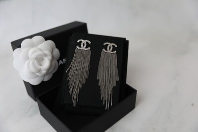 Chanel Earrings Crystal CC with Chain Fringe, New in Box WA001