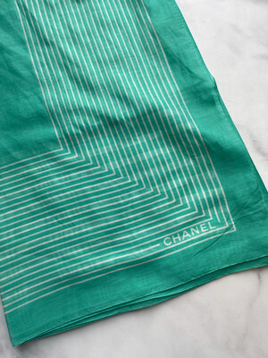 Chanel Scarf Lightweight Silk And Cotton, Green, New - No Box