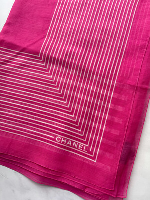 Chanel Scarf Lightweight Silk And Cotton, Pink, New - No Box
