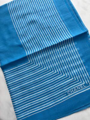 Chanel Scarf Lightweight Silk And Cotton, Light Blue, New - No Box