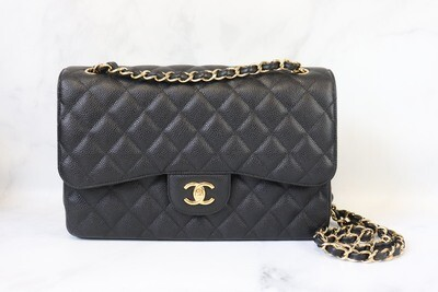Chanel Classic Jumbo Double Flap Black Caviar Leather, Gold Hardware, Preowned In Box