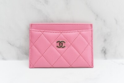 Chanel SLG Flat Cardholder, Pink Caviar Leather, Gold Hardware, New in Box