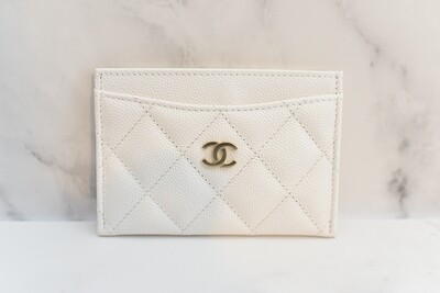 Chanel SLG Flat Cardholder, White Caviar Leather, Gold Hardware, New in Box