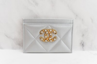 Chanel 19 SLG Flat Cardholder, Silver Lambskin Leather, Gold Hardware, New in Box