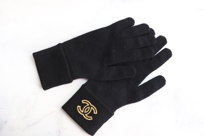 Chanel Gloves, Black with Gold, New