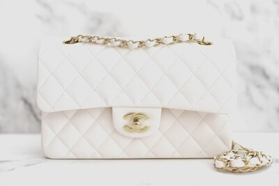 Chanel Classic Small Double Flap, White Caviar Leather with Light Gold Hardware, New in Box