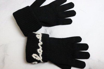 Chanel Gloves Scripted Tweed With Pearl, Black, New