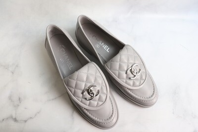 Chanel Shoes Loafer Grey Leather with Silver Hardware, New in Box