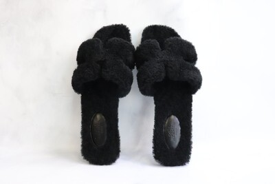 Hermes Shoes Oran Sandals Woolskin Black, Size 37.5, New in Box
