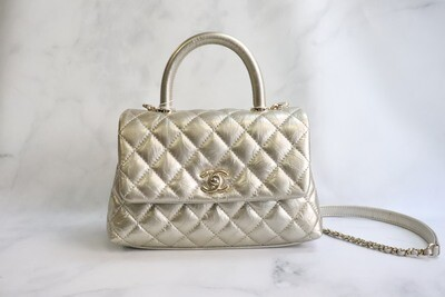 Chanel Coco Handle Gold Distressed Calfskin Leather, Gold Hardware, New in Box