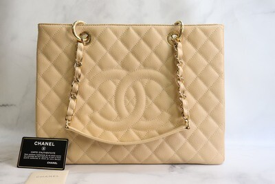 Chanel Grand Shopping Tote, Beige Clair Caviar Leather, Gold Hardware, Preowned in Dustbag
