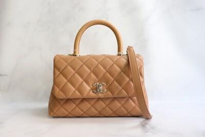Chanel Coco Handle Mini (Small) 21P Caramel Brown Caviar Leather, Gold Hardware, New in Box