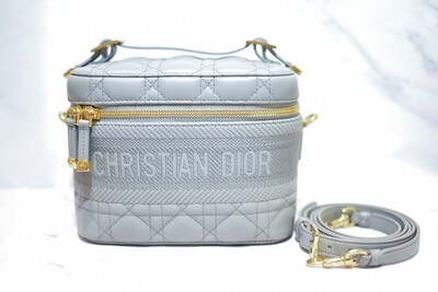 Dior Small Travel Vanity Case, Cloud Blue Cannage Lambskin, New in Box