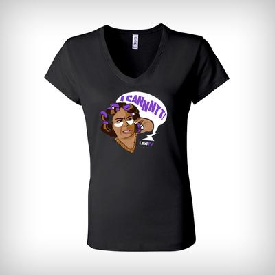 Black V-Neck Fitted Women's T Shirt Large
