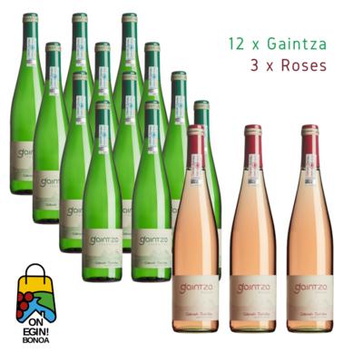 Pack 12 Gaintza - 3 Roses Txakolina