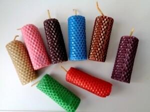 Свечи из цветной вощины с целительными травами, набор 8 штук. Травы и сборы на выбор.