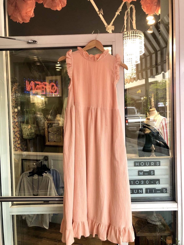 pink ruffle dress
