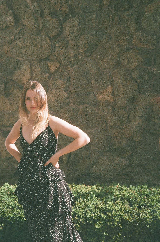 tiered polka-dot dress