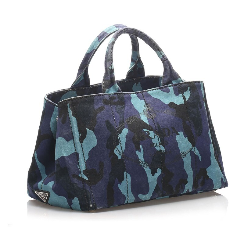 Prada Printed Canapa Canvas Satchel