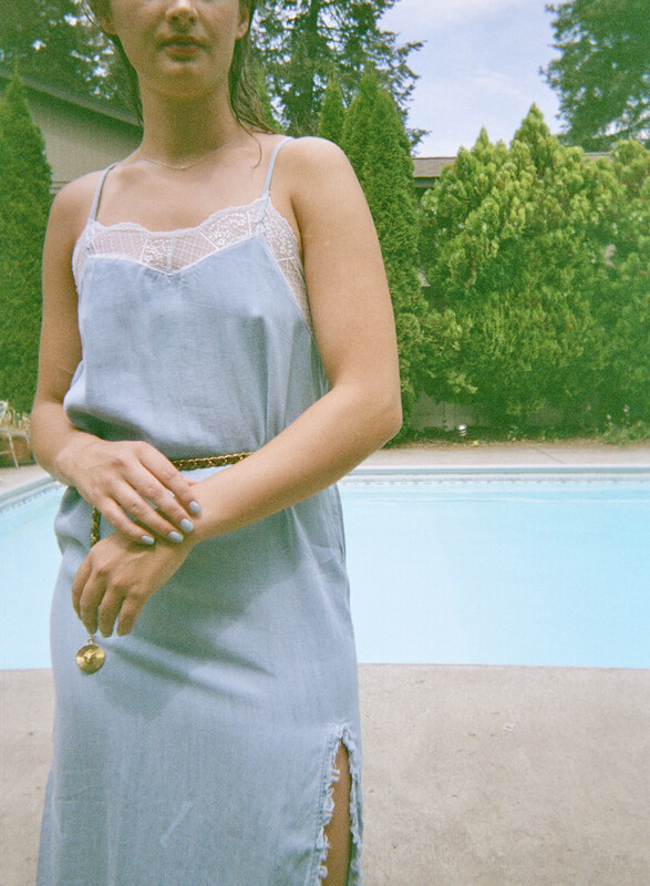 denim slip dress