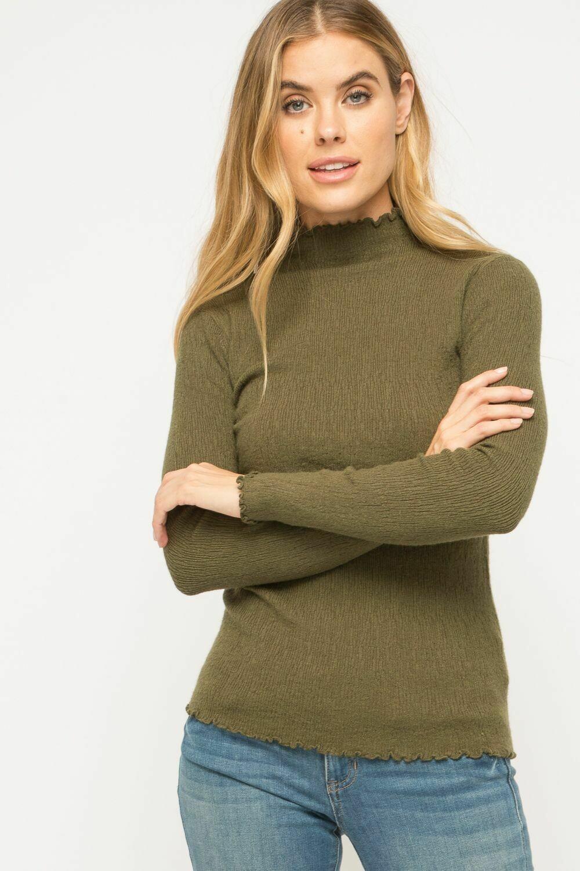 olive mock sweater