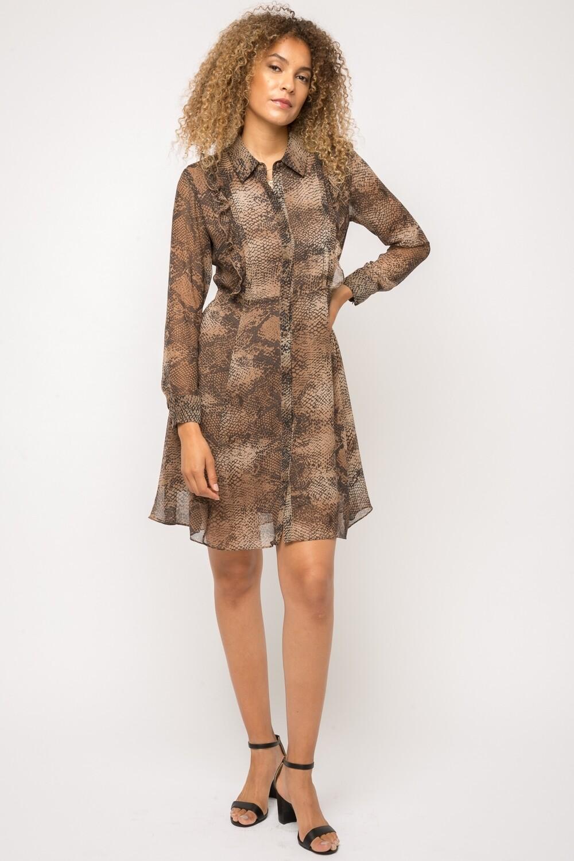 snake print ruffle dress