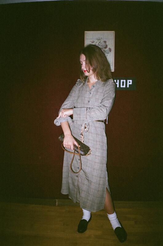 plaid trench dress