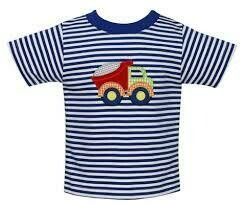 Dump Truck t-shirt Royal blue stripe knit