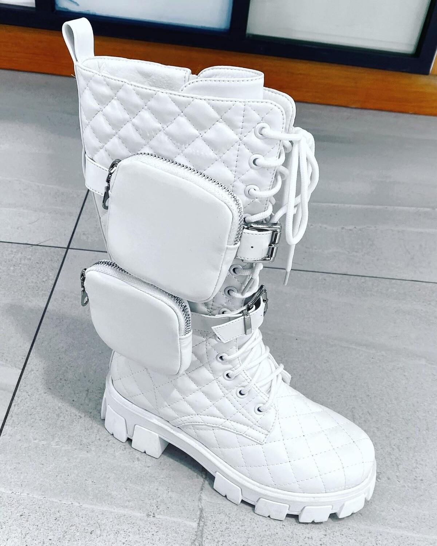 NEIGE COMBAT BOOTS    Bottes blanches avec lanière poche amoible