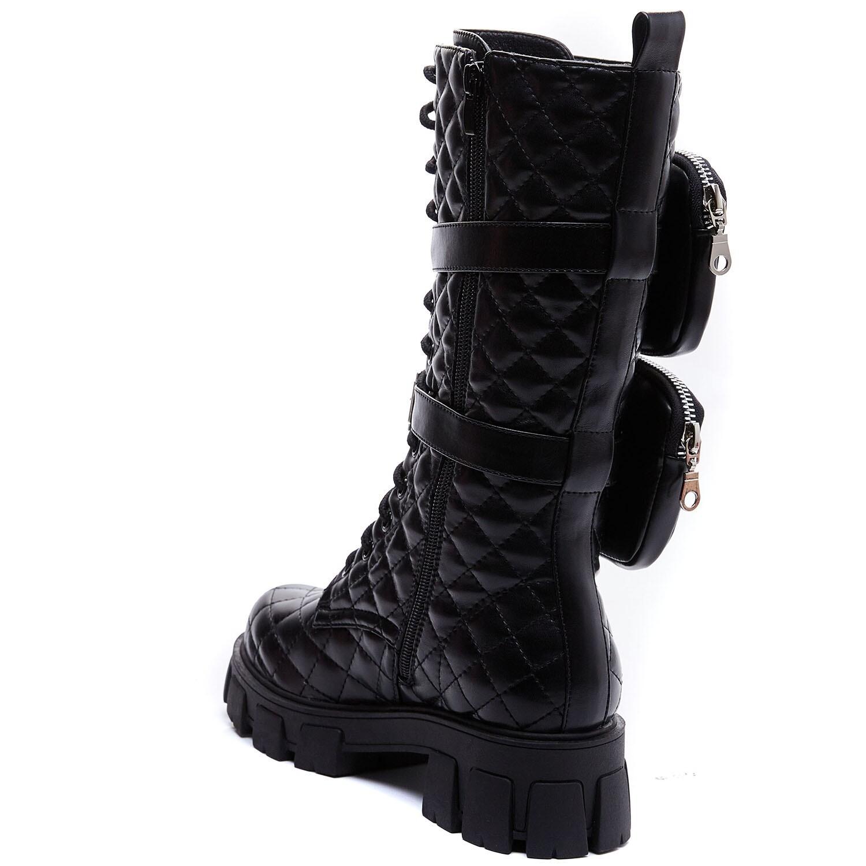 JET BLACK COMBAT BOOTS  Bottes noires avec lanière poche amoible