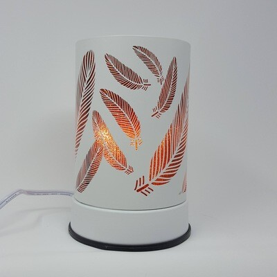 WHT/BROWN FEATHERS TOUCH LAMP