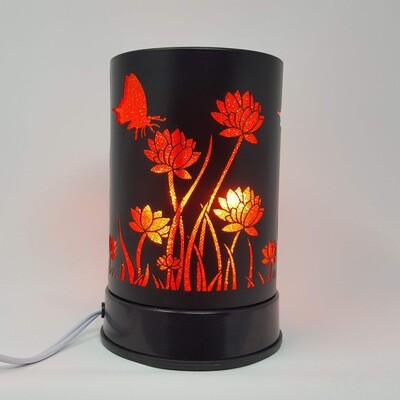 BLK METAL RED FLOWERS TOUCH