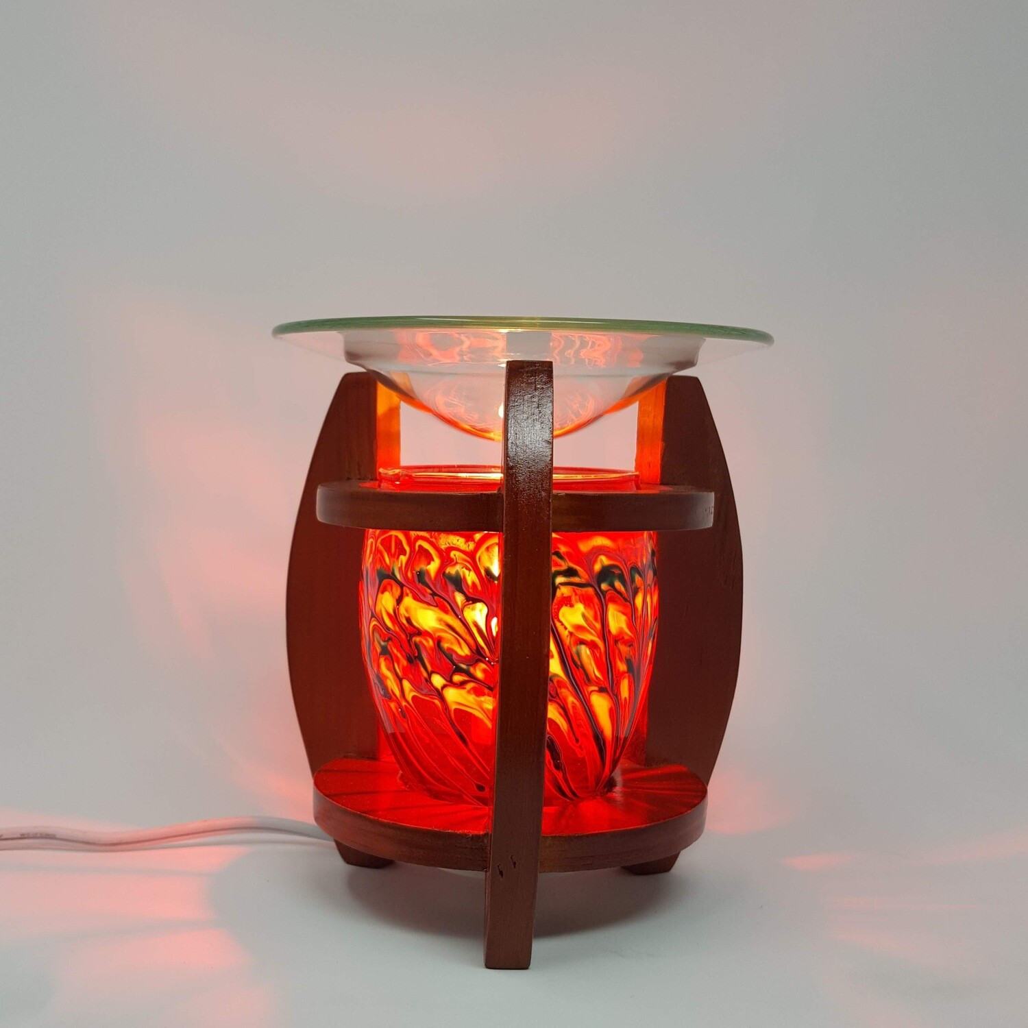 WOOD/RED DRIP ELECTRIC LAMP