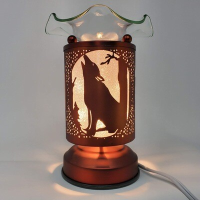 COPPER HOWLING WOLF TOUCH LAMP