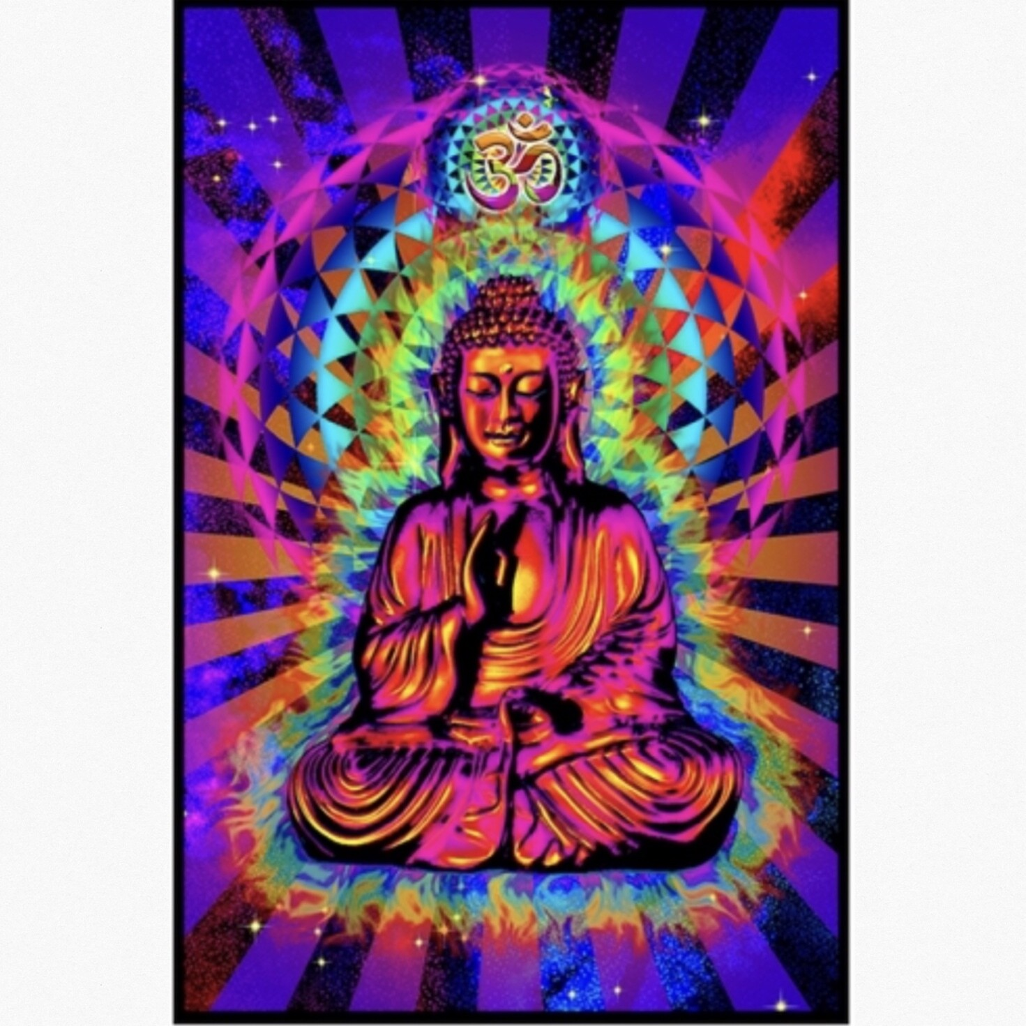 COSMIC OM BUDDHA BLACKLIGHT POSTER