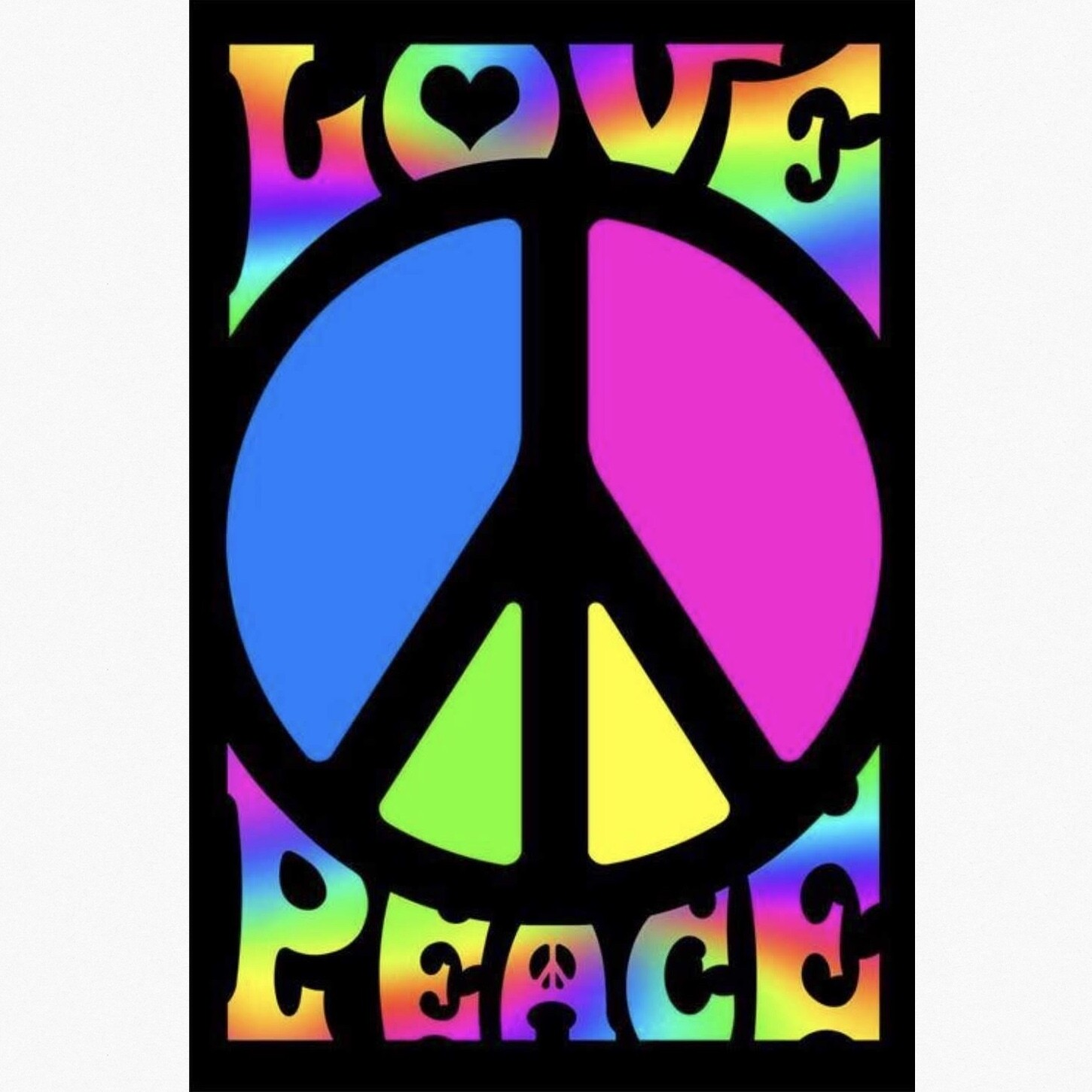 LOVE PEACE BLACKLIGHT POSTER