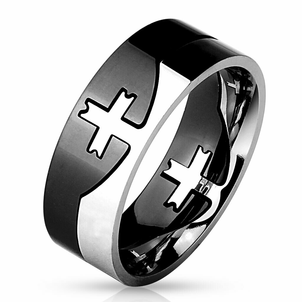 316L SS/BLK CROSS PUZZLE RING