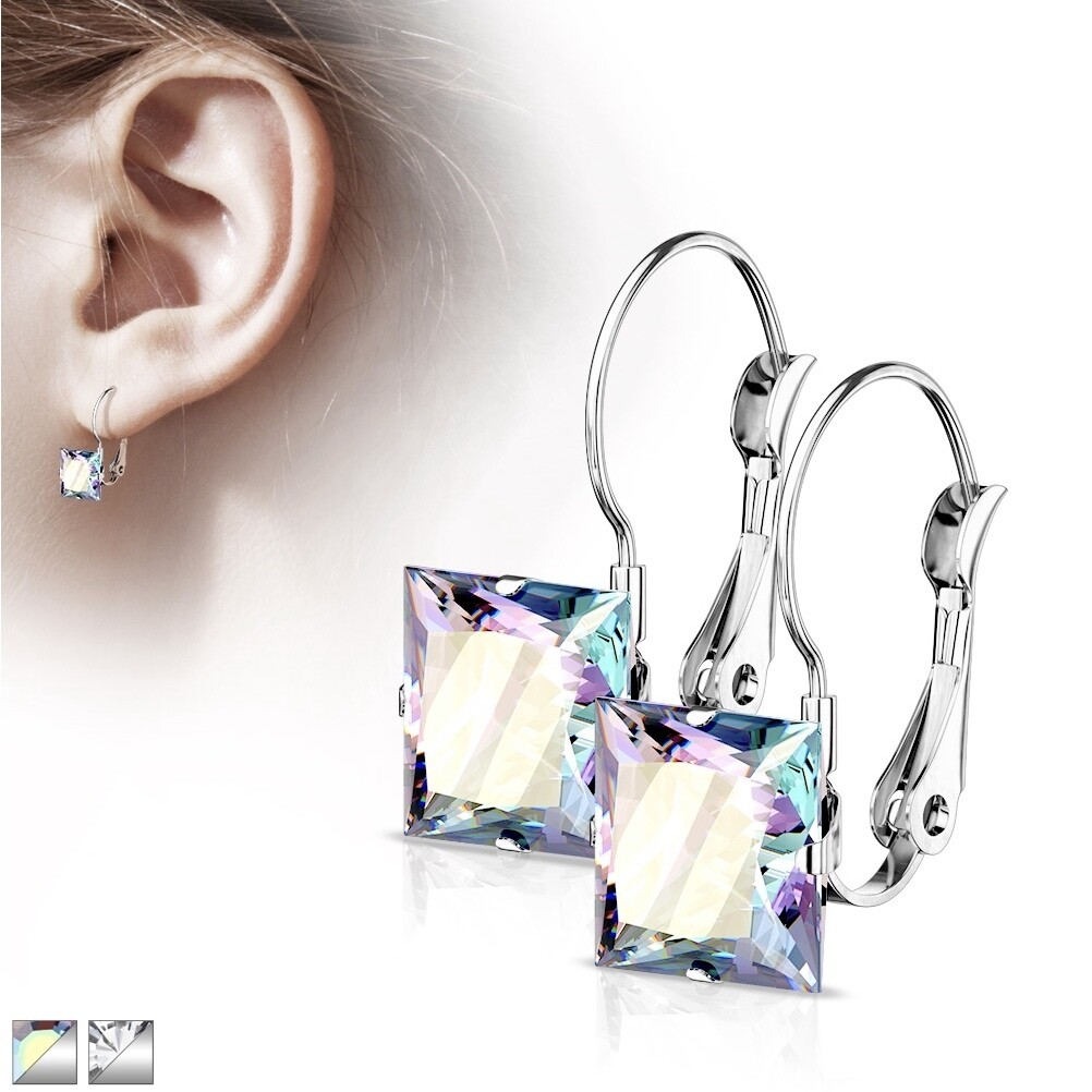 SQUARE CZ LEVER EARRINGS